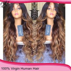 Free Shipping150% Density 6A Two Tone Ombre Full Lace Human Hair Wigs Wavy/Brazilian Lace Front Wigs For Black Women 26''