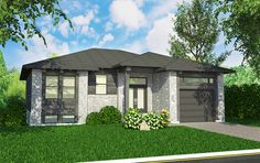 Front elevation of Bungalow home (ThePlanCollection: House Plan Modern Bungalow House, Bungalow House Plans, Bungalow Homes, House Plans And More, Small House Plans, Exterior Wall Materials, Plan Garage, House Design Pictures, Build Your Own House