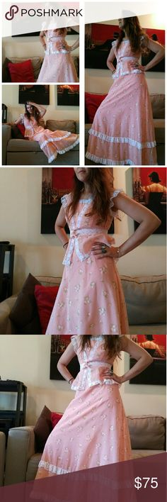 Pretty vintage maxi with jacket So sweet in light pink with a lace trim. Perfect condition. Vintage size 7, fits like a 2/4. Bust 32' waist 25' hips 36' Vintage  Dresses Maxi