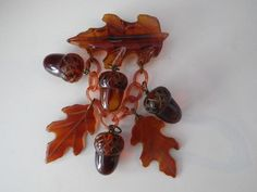 Vintage Amber Bakelite Figural Leaves Acorns Charms Pin Brooch Fall Autumn | eBay