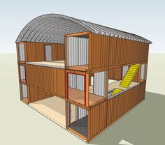 Underground Quonset Hut Home | like the height of the ceilings when the containers are 2 high.