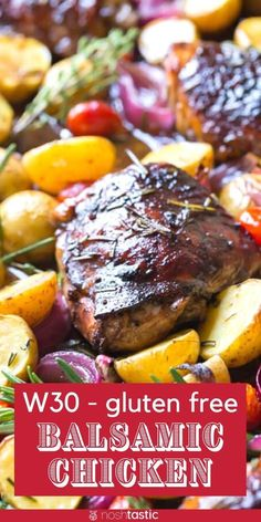 Whole 30 Balsamic Roast Chicken Recipe, clean eating with fresh healthy ingredients. gluten free recipe. www.noshtastic.com Whole 30 Chicken Recipes, Balsamic Chicken Recipes, Easy Whole 30 Recipes, Whole30 Recipes, Healthy Recipes, Whole 30 Soup, Paleo, Keto, Roasted Potatoes