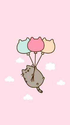 Pusheen-Luftballons - 173 Wallpaper 173 - # - New Ideas Wallpaper Sky, Cute Cat Wallpaper, Cartoon Wallpaper Iphone, Kawaii Wallpaper, Cute Cartoon Wallpapers, Disney Wallpaper, Cute Kawaii Drawings, Kawaii Doodles, Cute Doodles