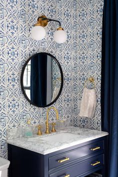 In this episode of our neoclassical home renovation project, we're decorating the kids' bathroom: wallpaper, drapes, vanity & more. Check it out! Small Bathroom Wallpaper, Blue Bathroom Decor, Bathroom Kids, Bathroom Interior Design, Master Bathroom, Bathroom Layout, Wall Paper Bathroom, Small Bathrooms, Old Home Renovation