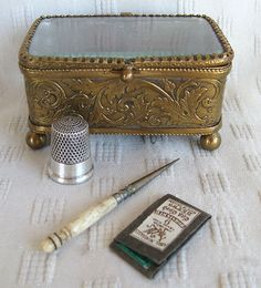 Antique French Ormolu Beveled Glass Box Casket w/Sterling Silver Thimble & Sewing Tools