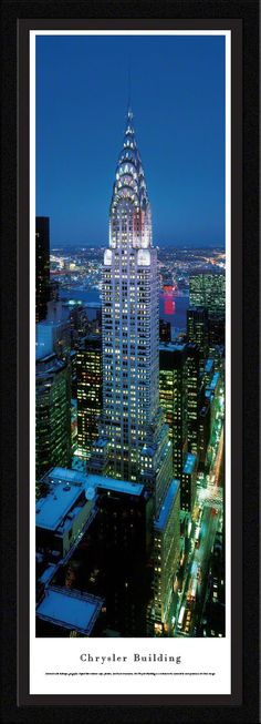 Chrysler Building Panoramic Picture Framed (Twilight)