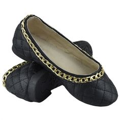 Kids Ballet Flats Quilted Gold Accent Chain Slip On Comfort Shoes Black Girls Ballet Flats, Ballet Kids, Black Ballet Flats, Chanel Ballet Flats, Black Shoes, Black 13, Black White, Red And Teal, Leather Chain