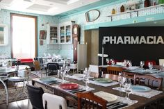 restaurante pharmacia inside the pharmacia museum with large terrace with view over Lisbon