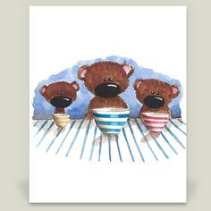 Fun Indie Art from BoomBoomPrints.com! http://www.boomboomprints.com/Product/stressiecat/Three_little_bears/Art_Prints/8x10_Print/