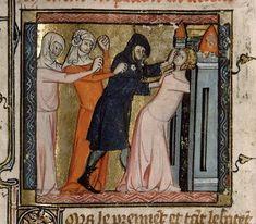 Roman de la Rose (vers 1350-1360), Paris, Bibliothèque Sainte-Geneviève, Ms.1126, f°107, « Danger, Honte et Peur se saisissant de Bel Accueil »