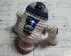 R2D2 Crochet Star Wars Robot with E textile LED by bettyvirago, £20.00