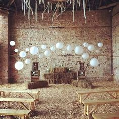 Our rustic Woodland Wedding set up at Camp Katur. We hung Paper Lanterns &…