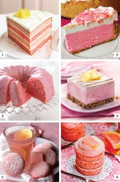 six pink lemonade dessert recipes. From cake with buttercream frosting to wafer cookies. I'm drooling! plus... I adore pink! for a girlie gathering maybe?
