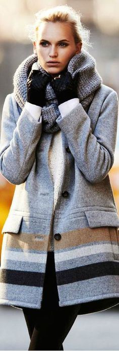 Warm and stylish grey winter coat. Latest winter collection 2015