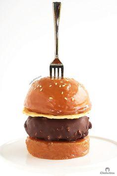 caramel buns ice cream burger (vanilla bean cake buns with caramel sauce and a chocOlate/nut covered vanilla ice cream patty)