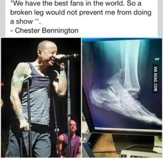 Chester Bennington, Singer of Linkin Park #Respect>>and Justin Beiber cries and leaves when he gets hit with a water bottle. This is why our bands are better