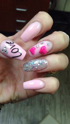 Valentine nails, coffin shape, pink bling, silver, glitter, hearts, love, rhinestones, crystals
