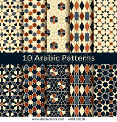 set of ten seamless vector arabic geometric traditional patterns