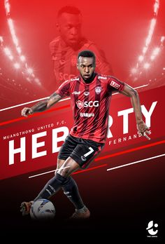 Poster Player In Thaileague on Behance - Sport Football Ads, Football Design, Graphic Design Brochure, Sports Graphic Design, Sport Man, Sport Girl, Banners, Nfl, Volleyball Pictures