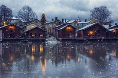 Winter magic - Pinned by Mak Khalaf Taken at in Finland-Porvoo this is the old part of Porvoo town. Snowfall i have made at Photoshop. Landscapes FinlandPorvoobuildingchristmasfallhouseicelightnightoldreflectionriversnowtowntreewhite by New Wallpaper Hd, City Wallpaper, Original Wallpaper, Snow Covered Trees, City Map Poster, Brown House, Winter Magic, City Maps, Green Trees