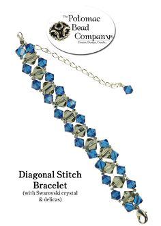 Diagonal stitch bracelet from The Potomac Bead Company! www.potomacbeads.com