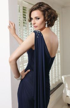 Alternate view of the VM Collection 70911 One Shoulder Draped Mother's Dress image