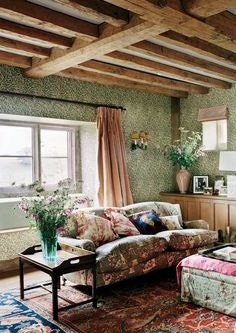 Plum Skyes English Country House William Morris Wallpaper Willow Boughs Chintz Roll Arm Sofa