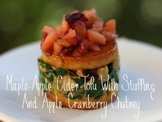 Maple-Apple Cider Tofu With Stuffing & Apple Cranberry Chutney | 41 Delicious Vegan Thanksgiving Recipes