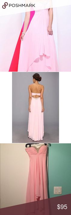 Strapless Blush Pink Prom Dress Faviana 7107 Gorgeous blush pink strapless floor length prom or formal gown. Features iridescent beading at the sweetheart neckline and lower back. Also features an open back and invisible zipper.  Authentic Faviana prom dress! Worn twice. Faviana Dresses Prom