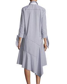 Lafayette 148 New York Leighton Striped Asymmetric-Hem Dress - Summer Dresses Linen Dresses, Casual Dresses, Hijab Fashion, Fashion Dresses, Stripes Fashion, African Fashion, Blouse Designs, Designer Dresses, Shirt Dress