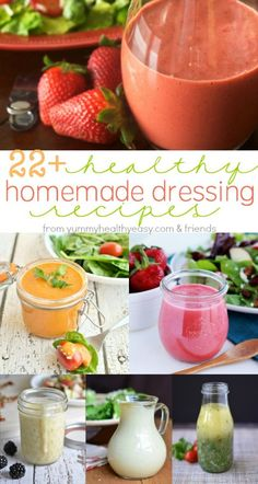 If you like salads but get tired of using the same old dressing, I've gathered together 22 healthy homemade salad dressing recipes for you to try!