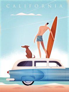 Vintage Travel Poster California Surfing, Martin Wickstrom #VintageTravel