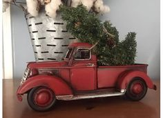 Lil' RED PICKUP Metal Truck with Christmas Tree Tabletop Arrangement Retro Farmhouse Chic Rustic Decor Vintage Look Style Pick Toy