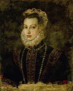 Elisabeth de Valois. MUSEUM DATA: signed Sofonisba, Anguissola, 1599?,  ocation KHM Bilddatenbank Vienna.  3rd wife of Philip II king of Spain. Early portrait before she started wearing Spanish style costume with carcanet necklace and aglets ? Dress has FROGS not AGLETS