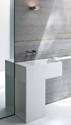 Minimalist washbasin and towel rail in Korakril acrylic, Argo by Rexa design