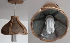 Luminária com a parte superior do garrafão 5 litros de água, revestida com juta e decorada com corda de sisal