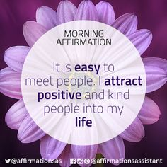 "Affirmation: ""It is easy to meet people. I attract positive and kind people into my life"" #successtrain #joytrain #ThriveTOGETHER #abundance #positive #lawofattraction #affirmation #affirmations #positiveaffirmations #positiveaffirmation #success #happiness #abundant"