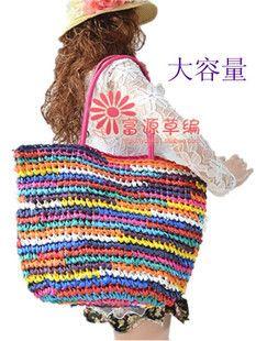 Cheap Estilo europeo super capacidad colorido Crochet mixta paja paquetes Gouzhen playa fábrica del bolso, Compro Calidad Top-Handle Bags directamente de los surtidores de China: