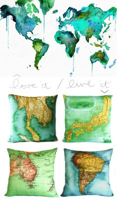 Travel themed throw pillows. A great way to add some travel inspiration touches throughout the house.
