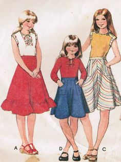 1970s McCall's 5524 Vintage Sewing Pattern Girls by midvalecottage