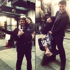 Arrow - John Barrowman & Willa Holland (Malcom & Thea)... he looks so nice and he actually is so mean but i love him he is the best villian ever