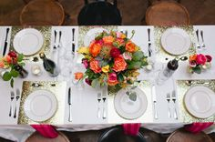 neat idea--sequined table cloths rent for $90 a pop. you can achieve the same look using scrap paper at each place setting.