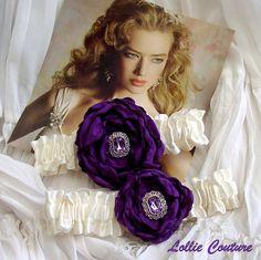 Purple wedding garters - Pour mon amour