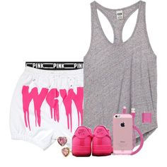 Untitled #523 by zayani on Polyvore featuring Victoria's Secret PINK, Betsey Johnson, PhunkeeTree and NIKE