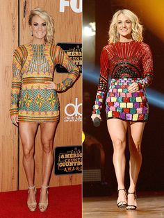 Carrie Underwood at the American Country Countdown Awards Slayed Last Night with 4 Different But Sexy Looks! The other 2 Looks were Totally My Favorite of Hers for the Evening. The Left Look was Her Final Look, a Green and Orange Print Elie Madi Long Sleeve Dress with Matching Anne Sisteron Accessories. The Right Look