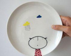 Mano pintada placa cerámica de cerámica por vanessabeanshop