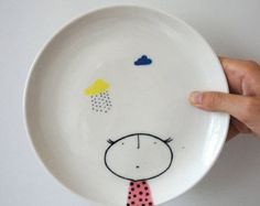 Hand Painted Plate ceramic porcelain pottery by vanessabeanshop