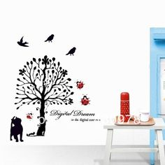 QZ174 Free Shipping 1Pcs Aestheticism Digital Dream Cat Ladybug Tree Bird For Living Room Decoration Removable PVC Wall Sticker