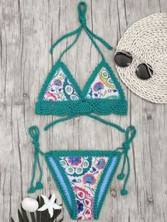 cd5ef034146b3 Bralette Scalloped Crochet Sun Floral String Bikini - Green L Swimwear  Fashion