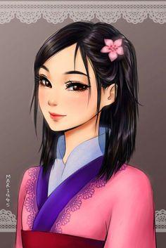 These Anime Disney Princess Portraits Are Pretty Marvelous: Mulan Anime Disney Princess, Disney Pixar, Disney Fan Art, Disney Animation, Anime Princesse Disney, Disney E Dreamworks, Disney Princess Drawings, Disney Girls, Disney Drawings